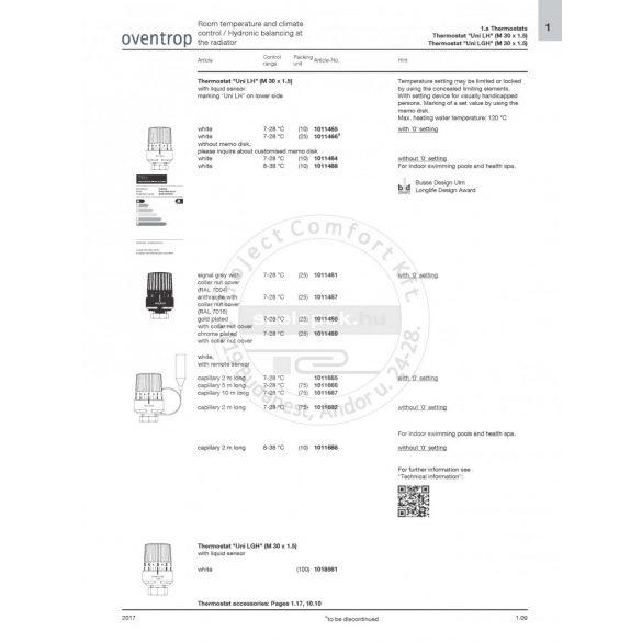 """OVENTROP """"Uni L"""" termofej,  1999 év végéig vásárolt/beépített Oventrop radiátorszelepekhez, M30x1,0 [mm], fehér (1011401)"""