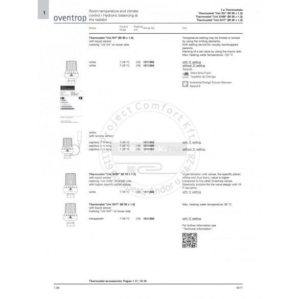 """OVENTROP """"Uni XH"""" fehér távérzékelős termofej, 2,0 m-es kapilláris-csővel szerelve, M30x1,5 mm (1011565)"""