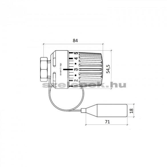 """OVENTROP """"Uni LH"""" távérzékelős termofej, 2,0 m-es kapilláris-csővel szerelve, fehér kivitel, M30x1,5 mm (1011665)"""