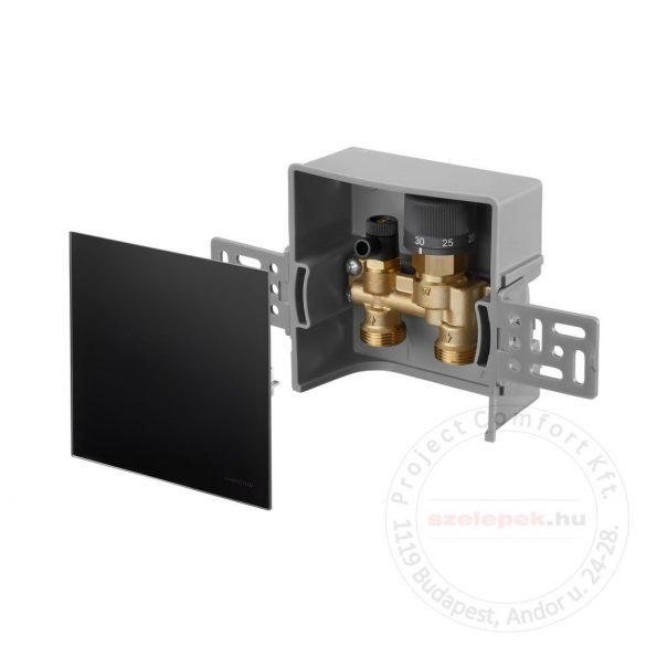 """OVENTROP  """"Unibox E-RTL"""" termosztatikus szabályozó padlófűtéshez, PN10, fekete edzett üveg takarólemezzel (1022761)"""