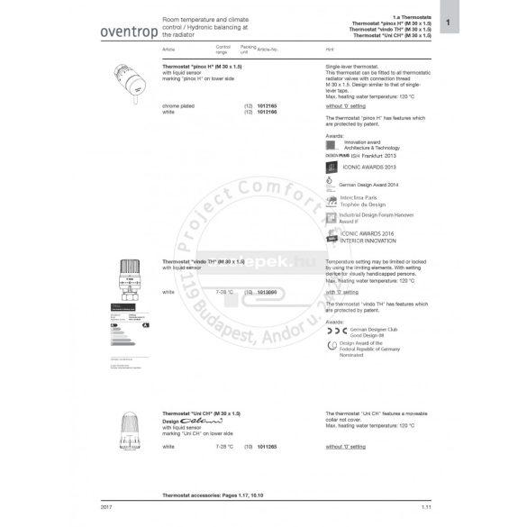 """OVENTROP """"vindo TH"""" termofej, fehér színben,  M30x1,5 mm-es menetes csatlakozással (1013066)"""