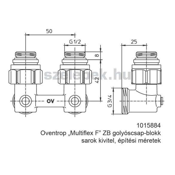"""OVENTROP """"Multiflex F"""" ZB golyóscsap-blokk, kétcsöves fűtési rendszerekhez, sarok kivitelben, PN10, 1/2"""" km x 3/4"""" km. (1015884)"""