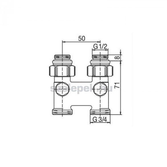 OVENTROP Fordítóidom szelepes fűtőtestekhez, egyenes, G1/2 belső -menetes szelepes fűtőtestekhez