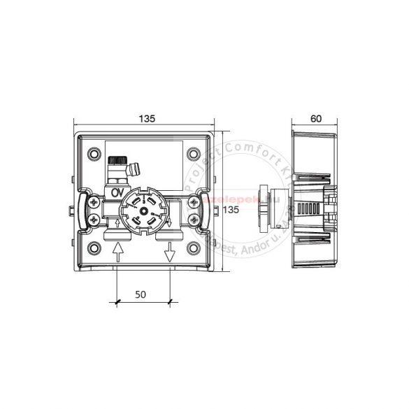 """OVENTROP """"Unibox-RTL"""" termosztatikus szabályozó padlófűtéshez, PN10, fehér, edzett üveg takarólemezzel (1022750)"""