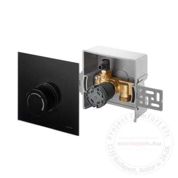 """OVENTROP """"Unibox-RTL"""" termosztatikus szabályozó padlófűtéshez, PN10, fekete, edzett üveg takarólemezzel (1022751)"""