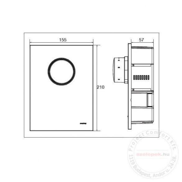 """OVENTROP """"Unibox T RTL"""" termosztatikus szabályozó padlófűtéshez, PN10, fekete, edzett üveg takarólemezzel (1022771)"""