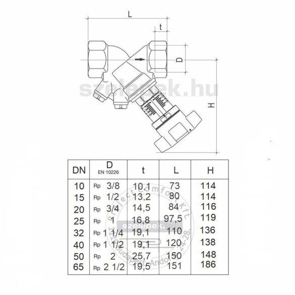"""OVENTROP DN15 (1/2"""") """"Hydrocontrol VTR"""" beszabályozó szelep, PN25, mérőszelepek nélkül, belsőmenetes kivitelben (1060104)"""