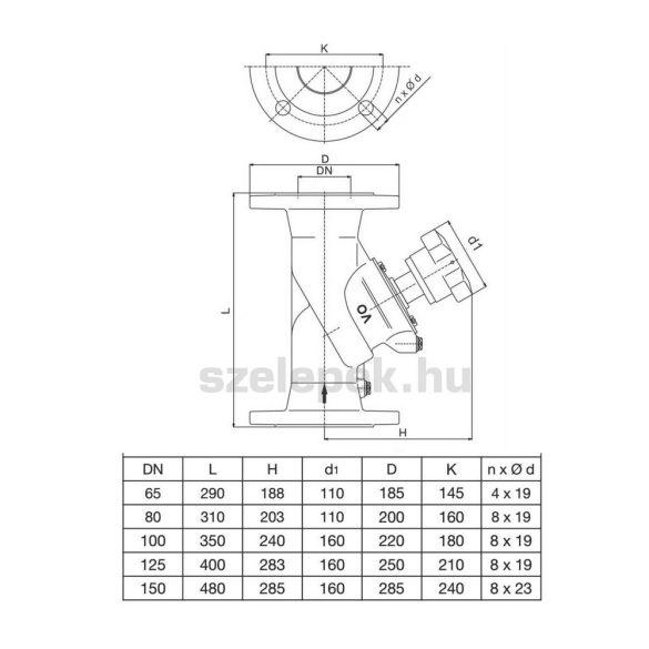 """OVENTROP """"Hydrocontrol AFC"""" ferdeülékű elzáró szelep PN16, DN80, karimás kivitelben. (1062052)"""