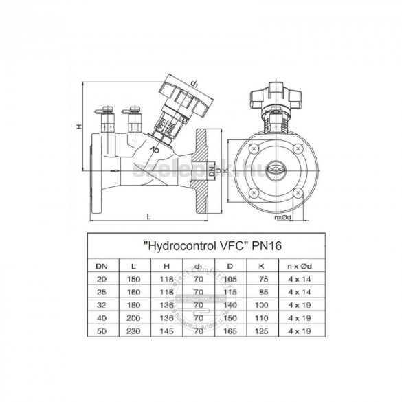"""OVENTROP DN40, PN16 """"Hydrocontrol VFC"""" beszabályozó szelep, mérőszelepekkel szerelve, karimás kivitel(1062649)"""