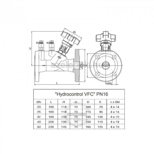 """OVENTROP DN50, PN16  """"Hydrocontrol VFC"""" beszabályozó szelep, mérőszelepekkel szerelve, karimás kivitel (1062650)"""