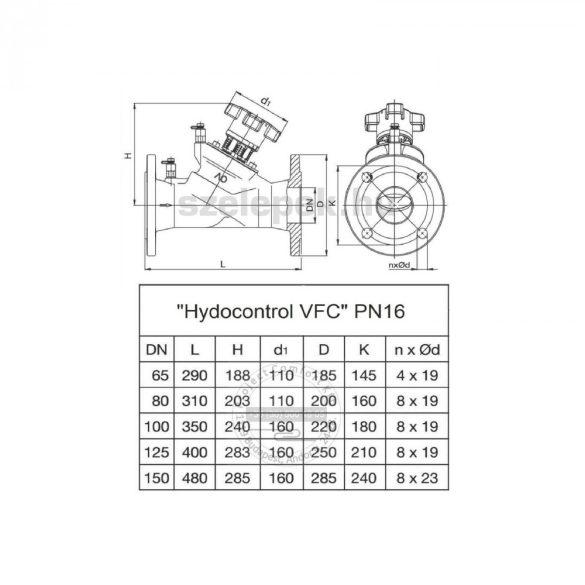 """OVENTROP DN80, PN16 """"Hydrocontrol VFC"""" beszabályozó szelep, mérőszelepekkel szerelve, karimás kivitel(1062652)"""