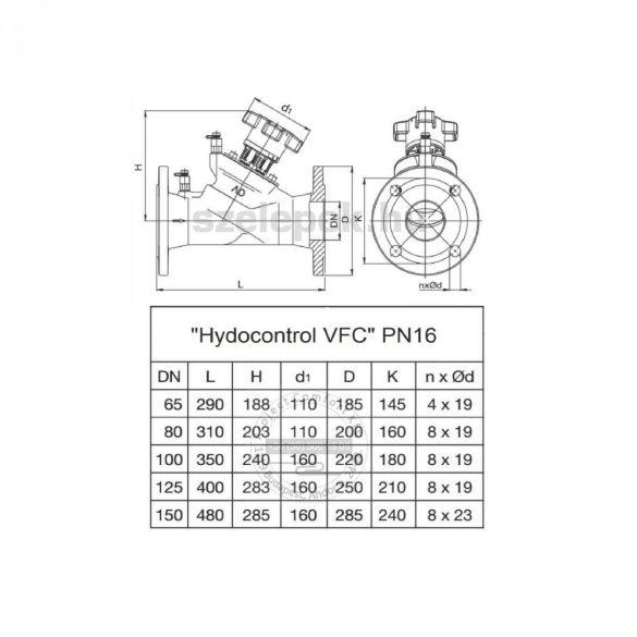 """OVENTROP DN125, PN16 """"Hydrocontrol VFC"""" beszabályozó szelep, mérőszelepekkel szerelve, karimás kivitel (1062654)"""