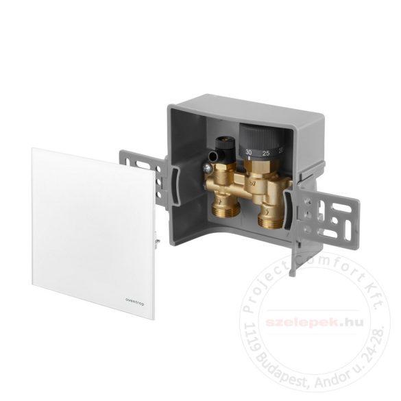 """OVENTROP  """"Unibox E-RTL"""" termosztatikus szabályozó padlófűtéshez, PN10, fehér edzett üveg takarólemezzel (1022760)"""