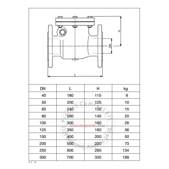 OVENTROP DN200, PN16 Visszacsapó csappantyú, karimás kivitelben, szürkeöntvény szelepházzal (1073056)
