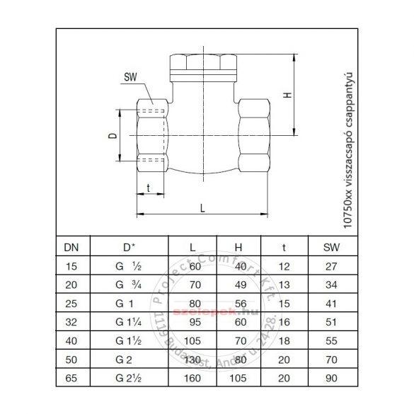 OVENTROP DN50, PN16 Visszacsapó csappantyú, fémes tömítéssel, belsőmenetes kivitelben, vörösöntvény szelepházzal (1075016)