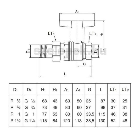 """OVENTROP  DN20 """"Optibal"""" golyóscsap, PN16, hosszabbított kivitelű műanyag fogantyúval, kónuszos menetes toldattal és hollandival szerelt külső- / belsőmenetes (KBH) kivitelben (1075706)"""