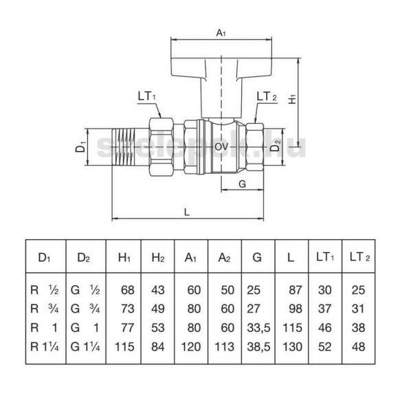 """OVENTROP D32 """"Optibal"""" golyóscsap, PN16, hosszabbított kivitelű műanyag fogantyúval, kónuszos menetes toldattal és hollandival szerelt külső- / belsőmenetes (KBH) kivitelben (1075710)"""