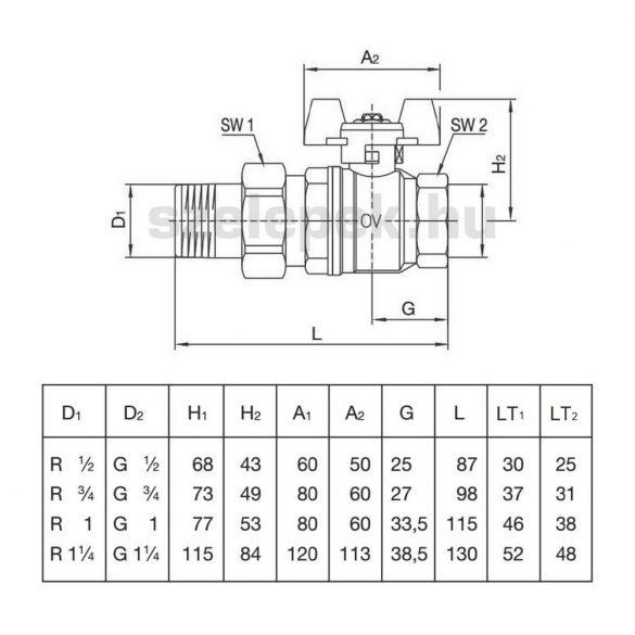 """OVENTROP DN25 """"Optibal"""" golyóscsap, PN16, szárnyas fém fogantyúval, kónuszos menetes toldattal és hollandival szerelt külső-/belsőmenetes (KBH) kivitelben (1075808)"""