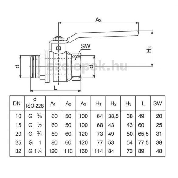 """OVENTROP DN20 """"Optibal"""" golyóscsap, PN16, műanyag-bevonatos acélkarral, külső-/ belsőmenetes (KB) kivitelben (1076206)"""