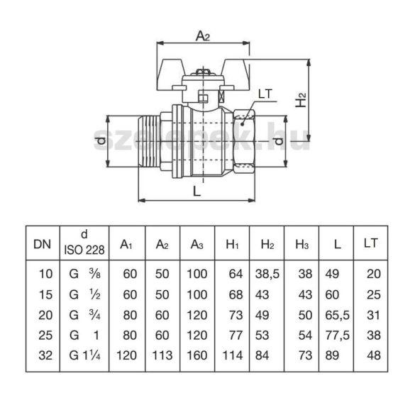 """OVENTROP DN15 """"Optibal"""" golyóscsap, PN16, szárnyas fém fogantyúval, külső-/belsőmenetes (KB) kivitelben (1076304)"""