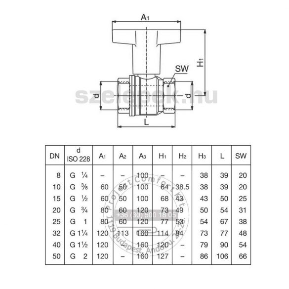 """OVENTROP DN10 """"Optibal"""" golyóscsap, PN16, hosszabbított kivitelű műanyag fogantyúval, belsőmenetes (BB) kivitelben (1077103)"""