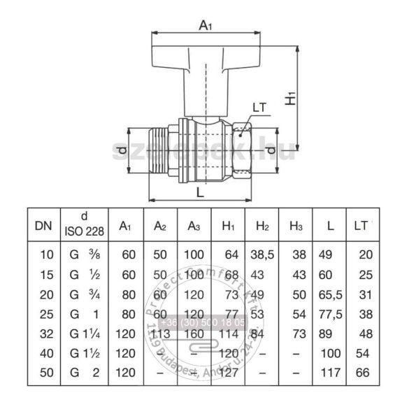"""OVENTROP DN32 """"Optibal"""" golyóscsap, PN16, hosszabbított kivitelű műanyag fogantyúval, külső- /belsőmenetes (KB) kivitelben (1077310)"""
