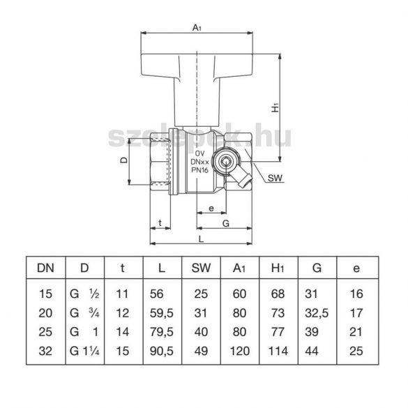 """OVENTROP DN32 """"Optibal"""" golyóscsap, PN16, hosszabbított kivitelű műanyag fogantyúval, G1/4 menetes csatlakozású ürítő szeleppel, belsőmenetes (BB) kivitelben (1077810)"""