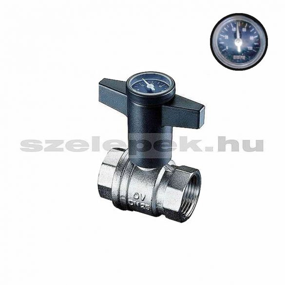 """OVENTROP """"Optibal"""" golyóscsap, PN16, DN32, hőmérővel szerelt műanyag fogantyúval, belsőmenetes (BB) kivitelben (1078010)"""