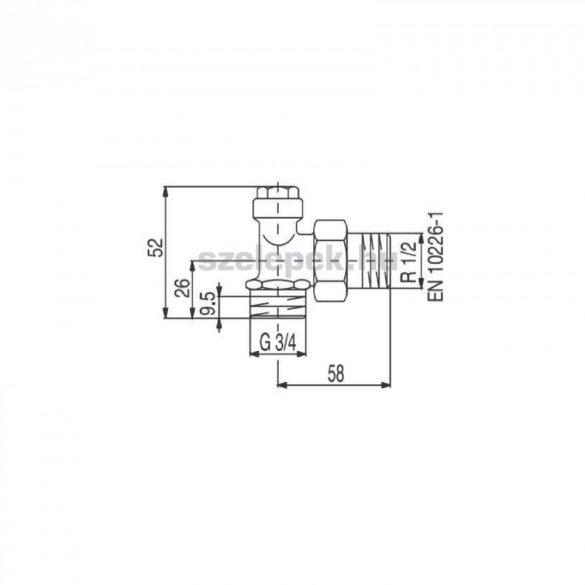 """OVENTROP DN15 (1/2"""") """"Combi 2"""" visszatérő fűtőtestszelep, PN10, sarok, külsőmenetes kivitel"""