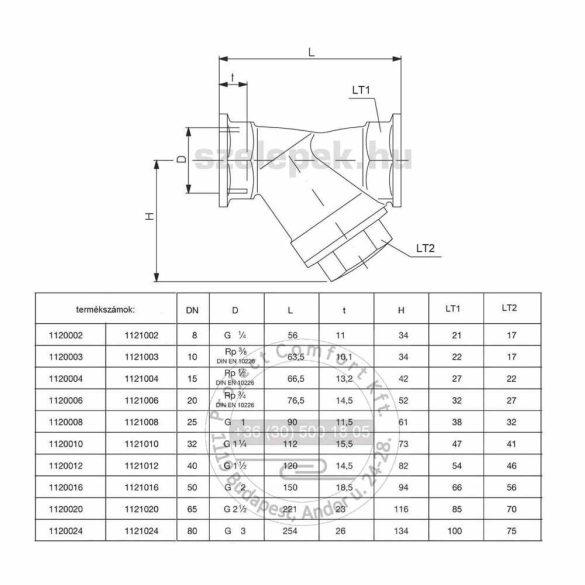 OVENTROP DN20 Szennyfogó szűrő, PN25, belsőmenetes kivitelben, kvs=7.80, szitasűrűség 600 µm, [-10…+150]°C (1120006)