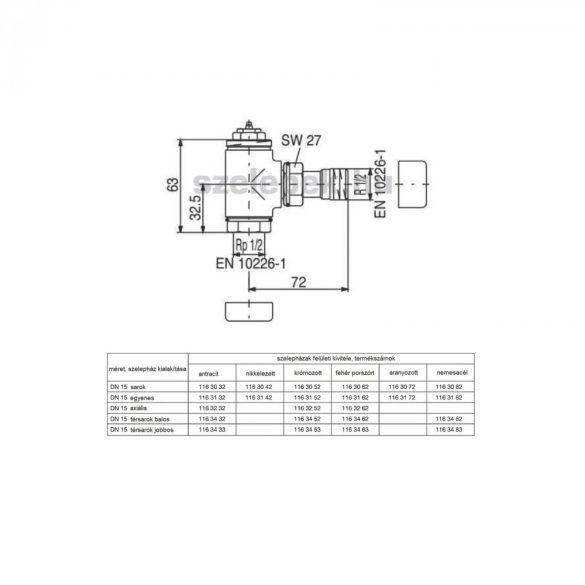 """OVENTROP DN15 (1/2"""") anracit, sarok """"E"""" típusú, exkluzív fűtőtestszelep, PN10, M30 x 1,5 mm (1163032)"""