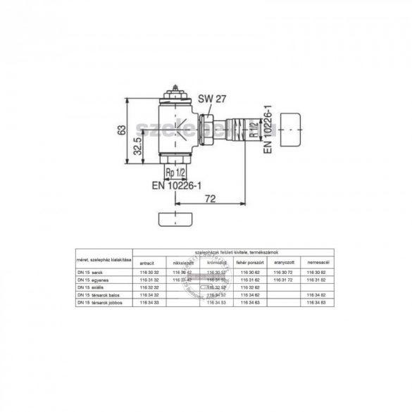 """OVENTROP DN15 (1/2"""") nikkelezett, sarok, """"E"""" típusú, exkluzív fűtőtestszelep, PN10, M30 x 1,5 mm (1163042)"""