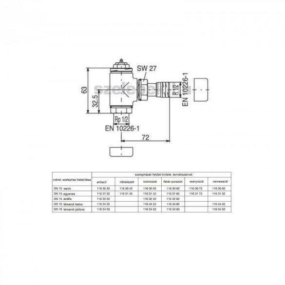 """OVENTROP DN15 (1/2"""") aranyozott, sarok, """"E"""" típusú, exkluzív fűtőtestszelep, PN10, M30 x 1,5 mm (1163072)"""