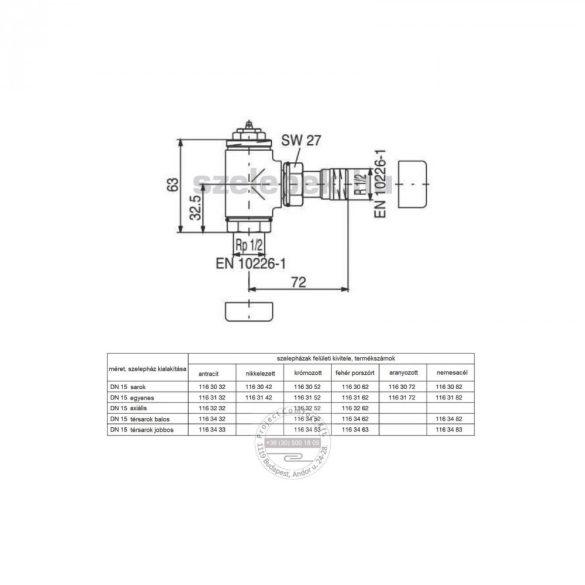 """OVENTROP DN15 (1/2"""") nemesacél, sarok """"E"""" típusú, exkluzív fűtőtestszelep, PN10,  M30 x 1,5 mm (1163082)"""