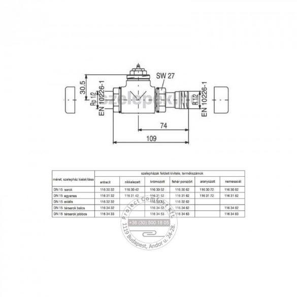 """OVENTROP DN15 (1/2"""") nikkelezett, egyenes, """"E"""" típusú, exkluzív fűtőtestszelep, PN10, M30 x 1,5 mm (1163142)"""