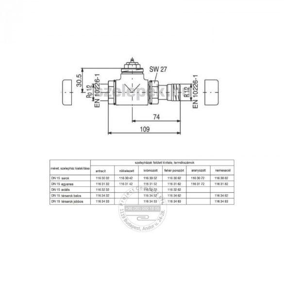 """OVENTROP DN15 (1/2"""") krómozott, egyenes, """"E"""" típusú, exkluzív fűtőtestszelep, PN10, M30 x 1,5 mm (1163152)"""