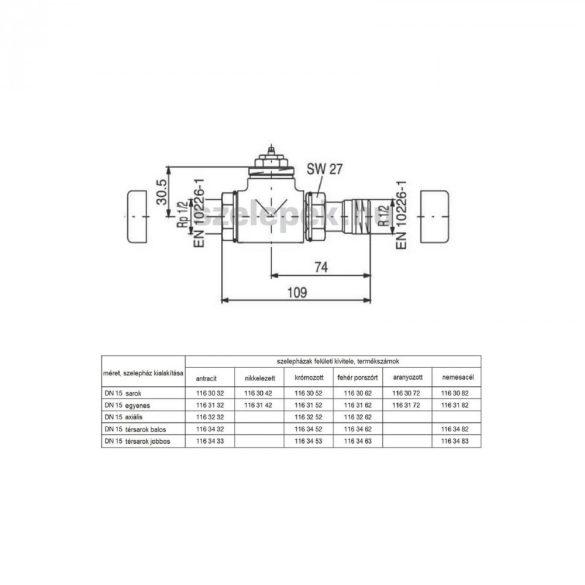 """OVENTROP DN15 (1/2"""") aranyozott, egyenes, """"E"""" típusú, exkluzív fűtőtestszelep, PN10, M30 x 1,5 mm (1163172)"""