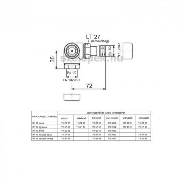 """OVENTROP DN15 (1/2"""") antracit, térsarok balos, """"E"""" típusú, exkluzív fűtőtestszelep, PN10, M30x1,5mm (1163432)"""