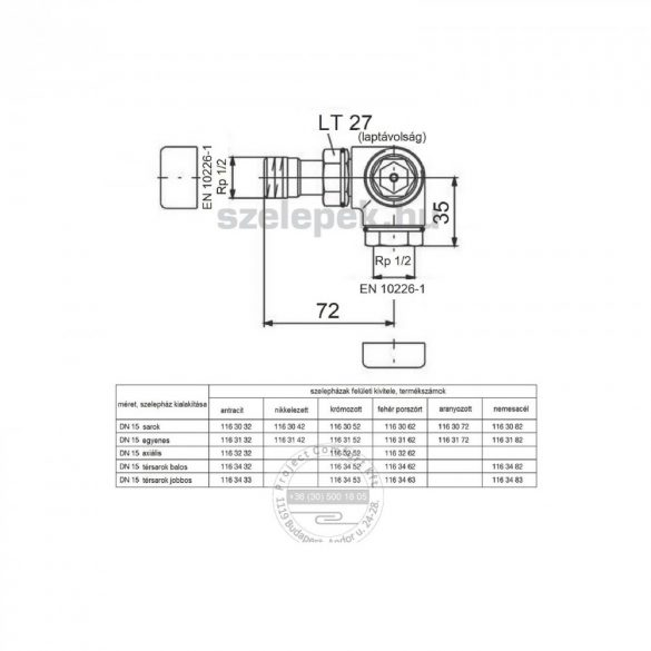 """OVENTROP DN15 (1/2"""") antracit, térsarok jobbos, """"E"""" típusú, exkluzív fűtőtestszelep, PN10, M30x1,5 mm (1163433)"""