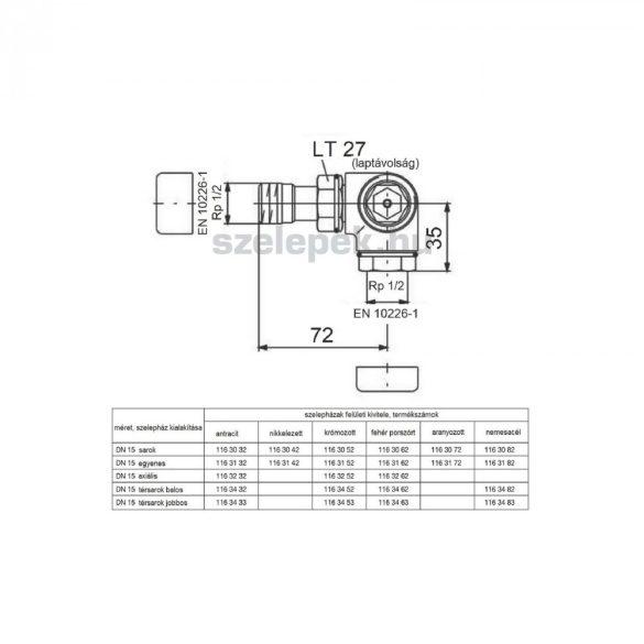 """OVENTROP DN15 (1/2"""") nemesacél, térsarok jobbos, """"E"""" típusú, exkluzív fűtőtestszelep, PN10, M30x1,5 mm (1163483)"""