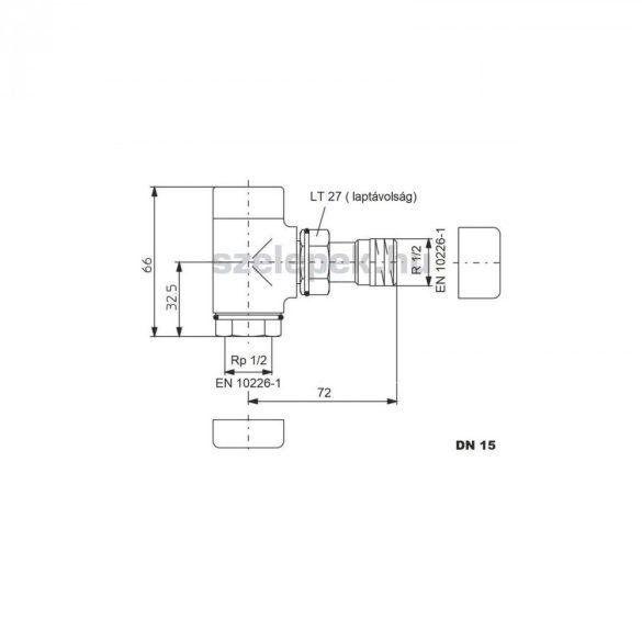 """OVENTROP DN15 (1/2"""") antracit, sarok """"Combi E"""" típusú, exkluzív visszatérő fűtőtest-szelep, PN10 (1166032)"""
