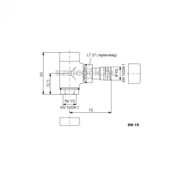 """OVENTROP DN15 (1/2"""") krómozott, sarok """"Combi E"""" típusú, exkluzív visszatérő fűtőtest-szelep, PN10 (1166052)"""