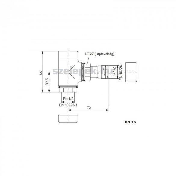 """OVENTROP DN15 (1/2"""") aranyozott, sarok, """"Combi E"""" típusú, exkluzív visszatérő fűtőtest-szelep, PN10 (1166072)"""