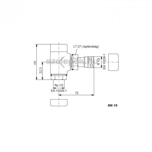 """OVENTROP DN15 (1/2"""") nemesacél, sarok """"Combi E"""" típusú, exkluzív visszatérő fűtőtest-szelep, PN10 (1166082)"""