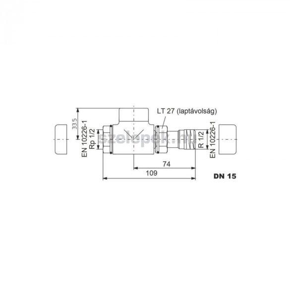 """OVENTROP DN15 (1/2"""") antracit, egyenes, """"Combi E"""" típusú, exkluzív visszatérő fűtőtest-szelep, PN10 (1167032)"""