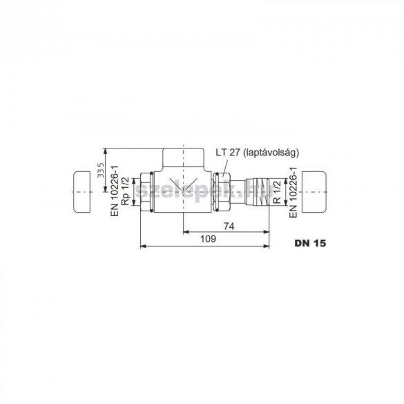 """OVENTROP DN15 (1/2"""") nikkelezett, egyenes, """"Combi E"""" típusú, exkluzív visszatérő fűtőtest-szelep,  PN10 (1167042)"""