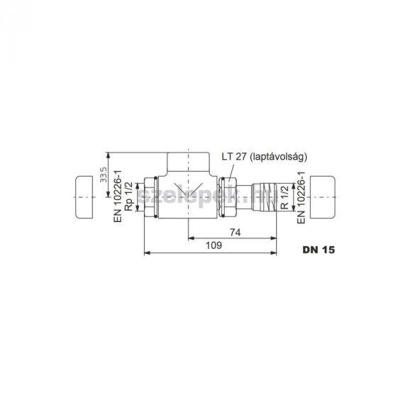 """OVENTROP DN15 (1/2"""") aranyozott, egyenes, """"Combi E"""" típusú, exkluzív visszatérő fűtőtest-szelep, PN10 (1167072)"""