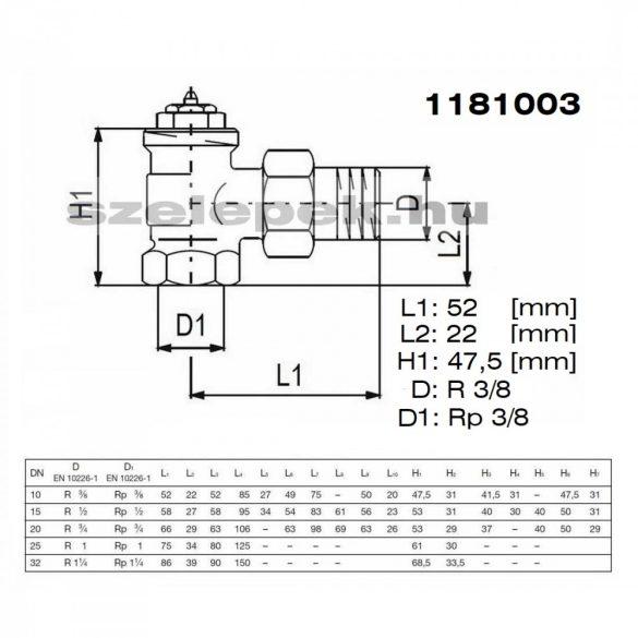"""OVENTROP DN10 (3/8"""") sarok kivitelű """"A"""" tip. termosztatikus fűtőtestszelep, előbeállítás nélkül, PN10, M30x1,5 mm (1181003)"""