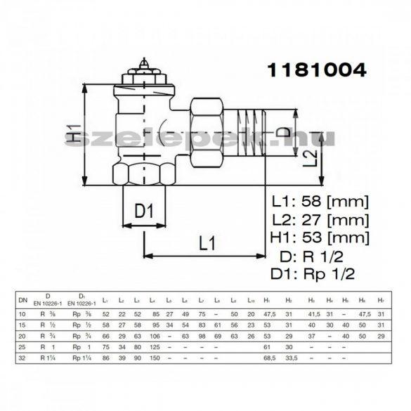 """OVENTROP DN15 (1/2"""") """"A"""" tip. termosztatikus fűtőtestszelep, előbeállítás nélkül, sarok kivitel, PN10, M30x1,5 mm (1181004)"""
