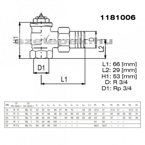 """OVENTROP DN20 (3/4"""") """"A"""" tip. termosztatikus fűtőtestszelep, előbeállítás nélkül, sarok kivitel, PN10, M30x1,5 mm (1181006)"""